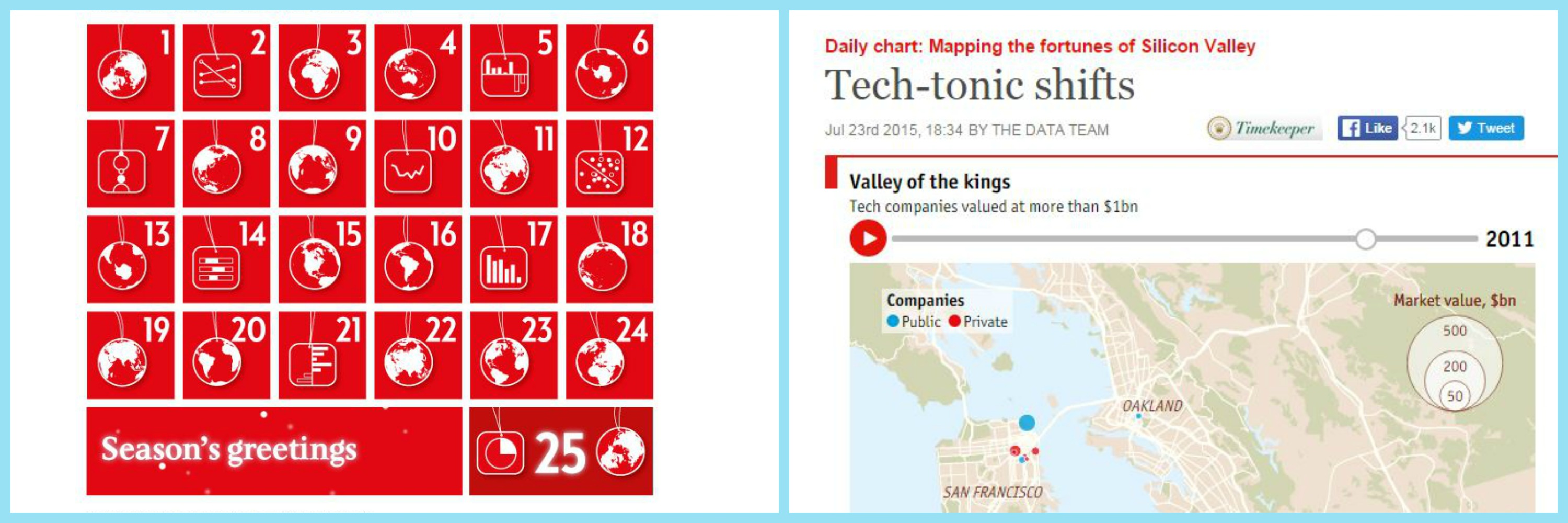 Data Stories of the week - Economist Advent Calendar