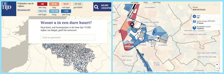 De Tijd Real Estate Price Map for Belgium
