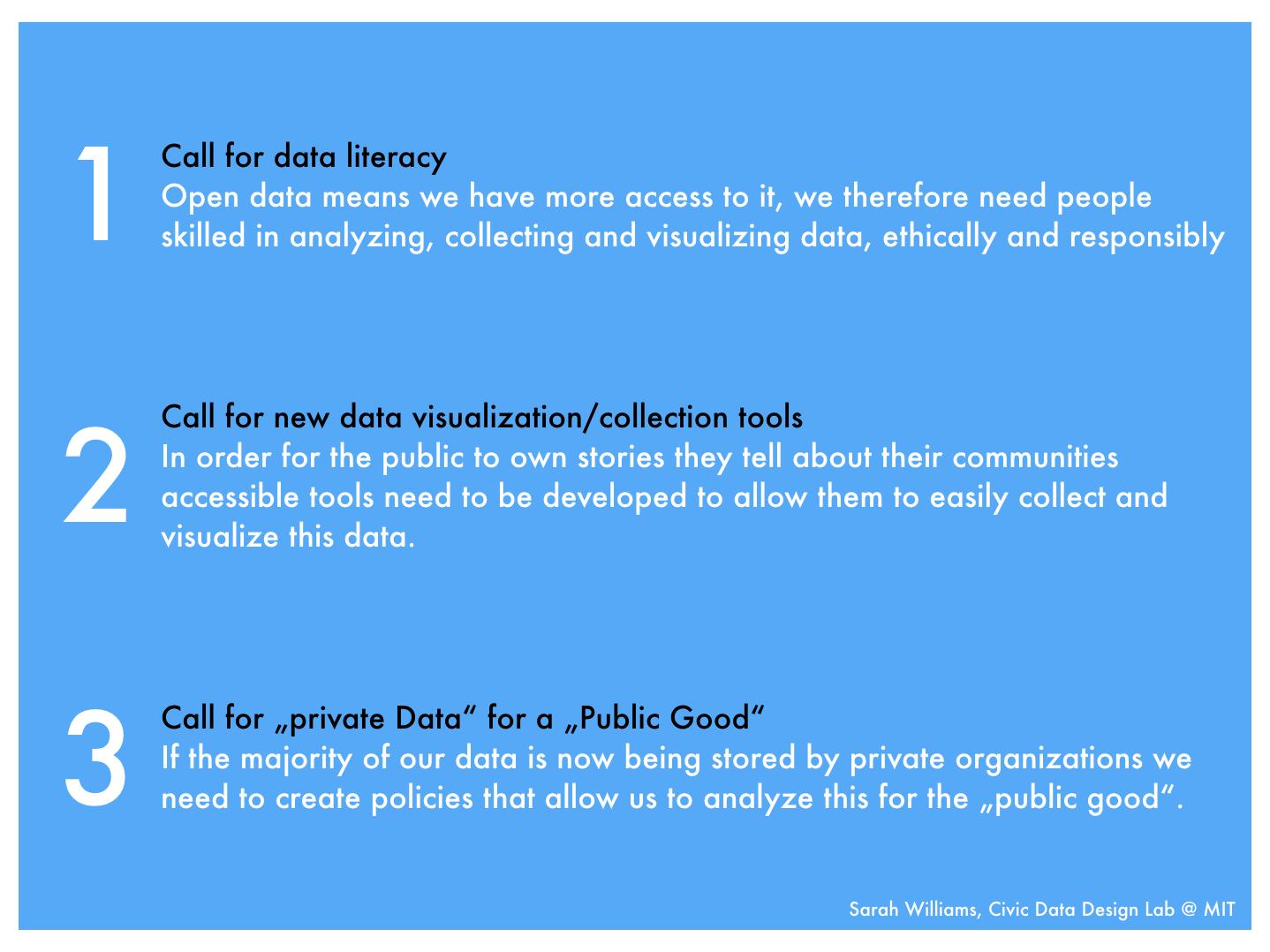 "The ""#opendata /dataviz manifesto"" by Sarah Williams"